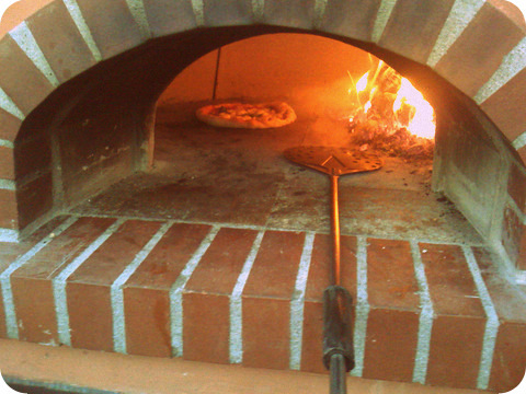 Inside the wood-fired oven