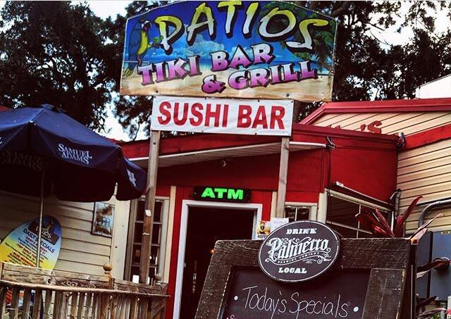 outdoor view of patios tiki bar and grill