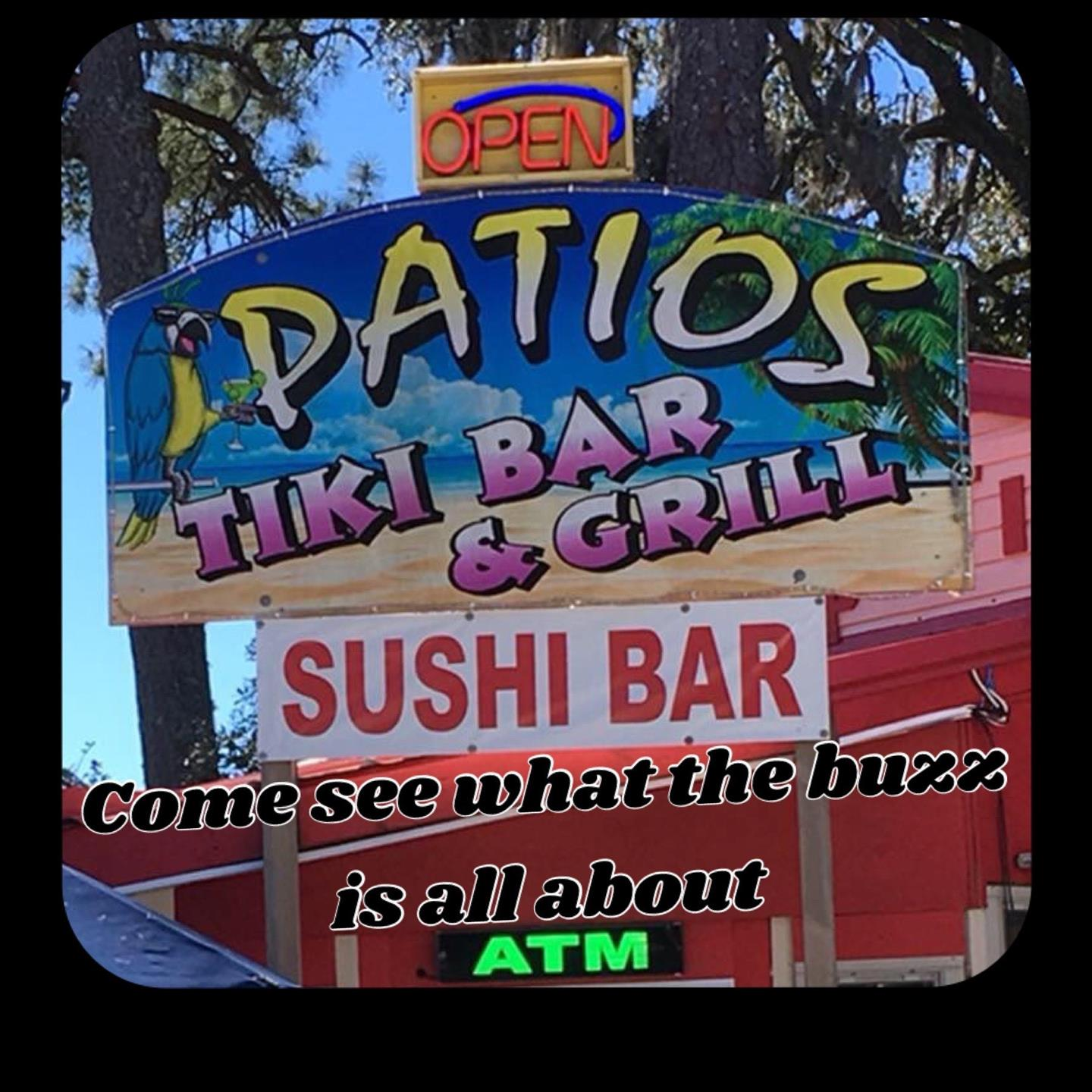 patios tiki bar and grill sign outside