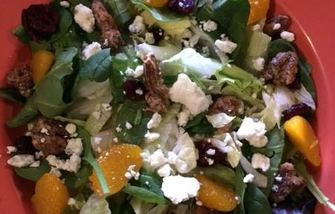salad with goatcheese, walnuts and tangerine