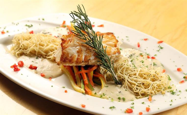 White Fish over Angel Hair Pasta