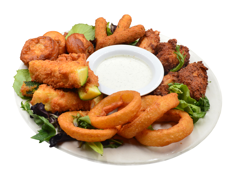 Combination Plate. Buffalo wings, onion rings, zucchini, fried mushrooms and mozzarella cheese stick