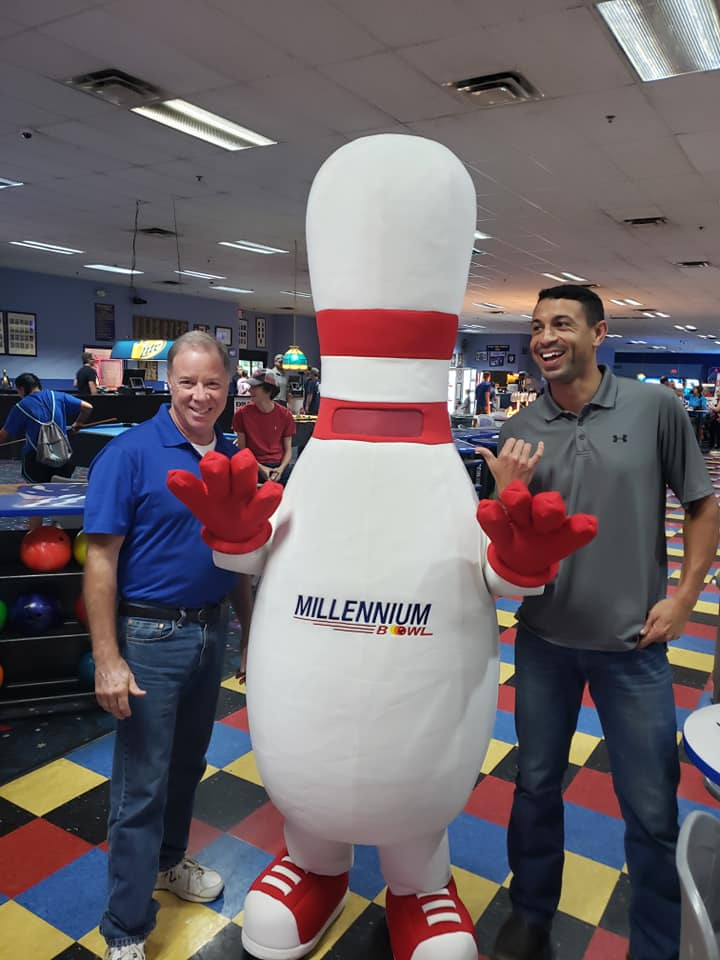 milly the bowling pin with two people
