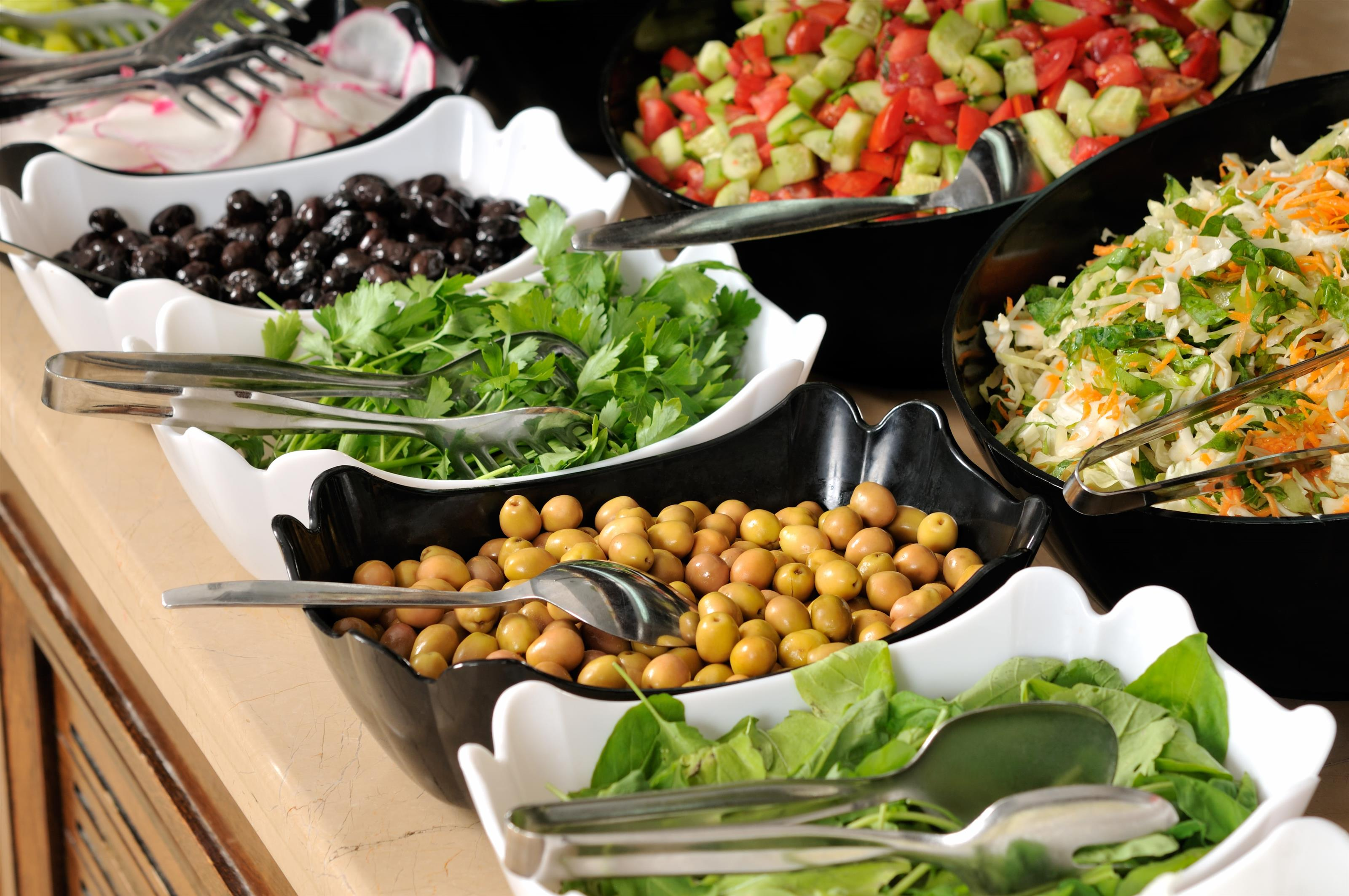 Salad bar display with assorted ingrediants