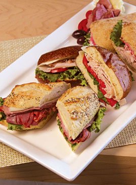 Assorted sandwiches on a tray