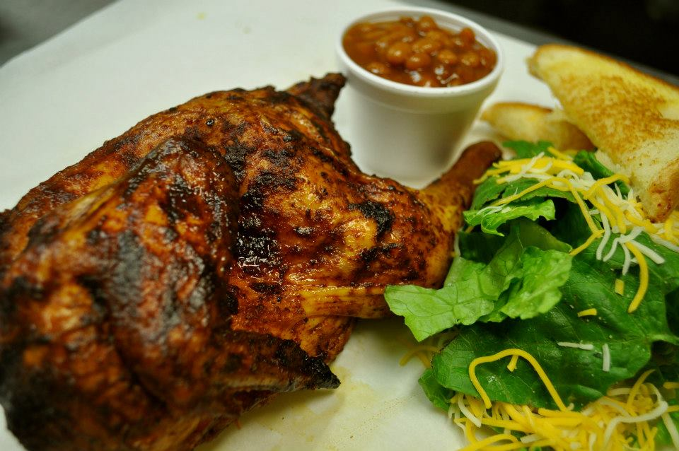 BBQ chicken with baked beans, lettuce and Texas toast