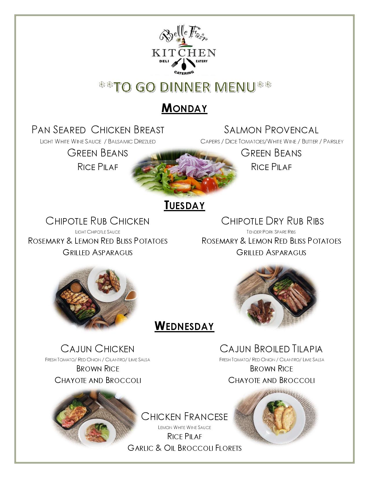dinner to go menu page 1