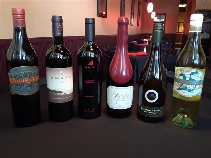 A selection of 6 bottles of wine