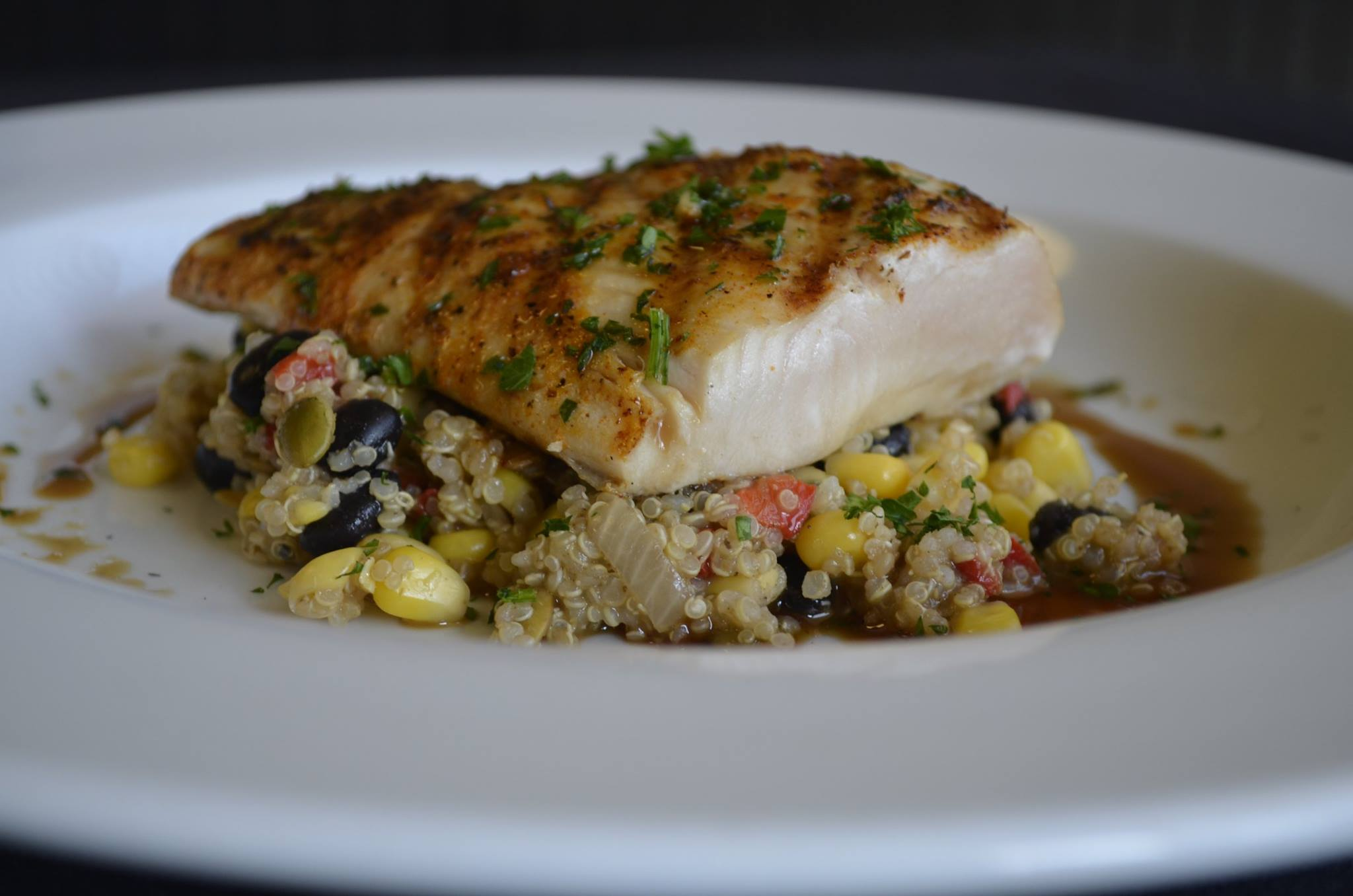 Grilled salmon over quinoa