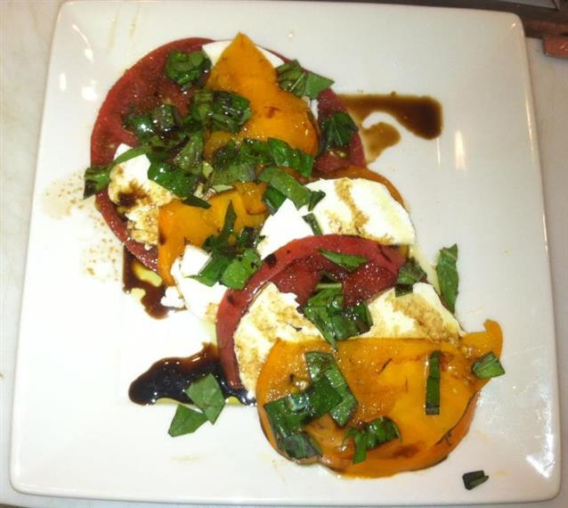 tomato and mozzarella with balsamic on top