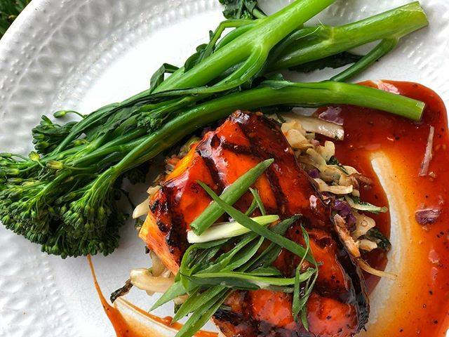 BBQ salmon with broccolini and Asian BBQ sauce