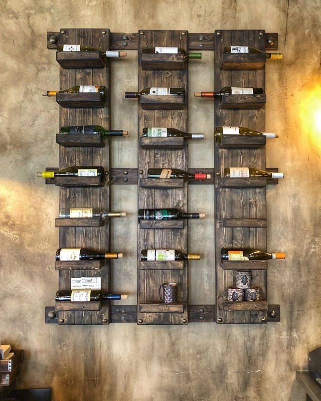 Wine bottle display on wall