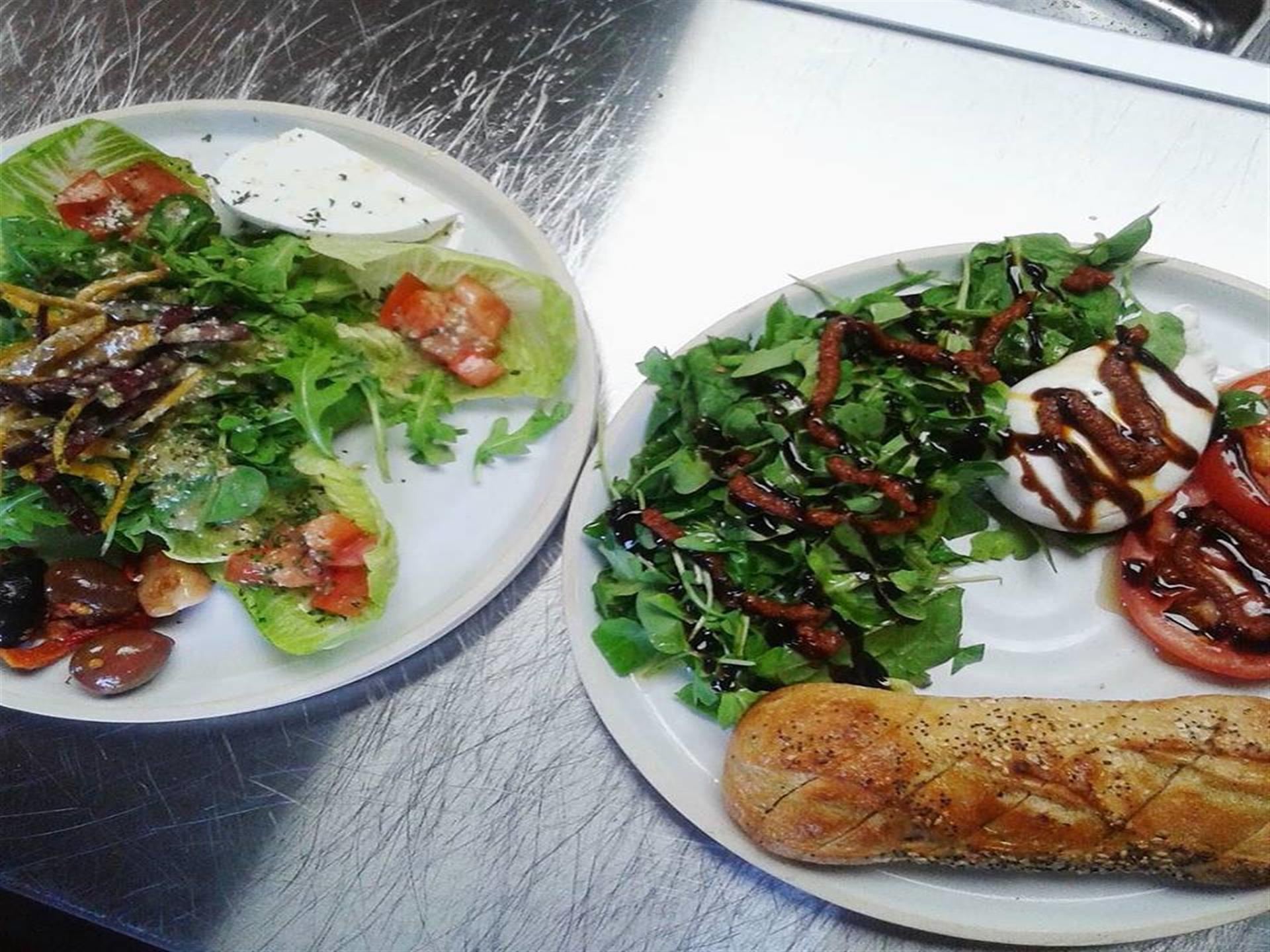 two plated salads