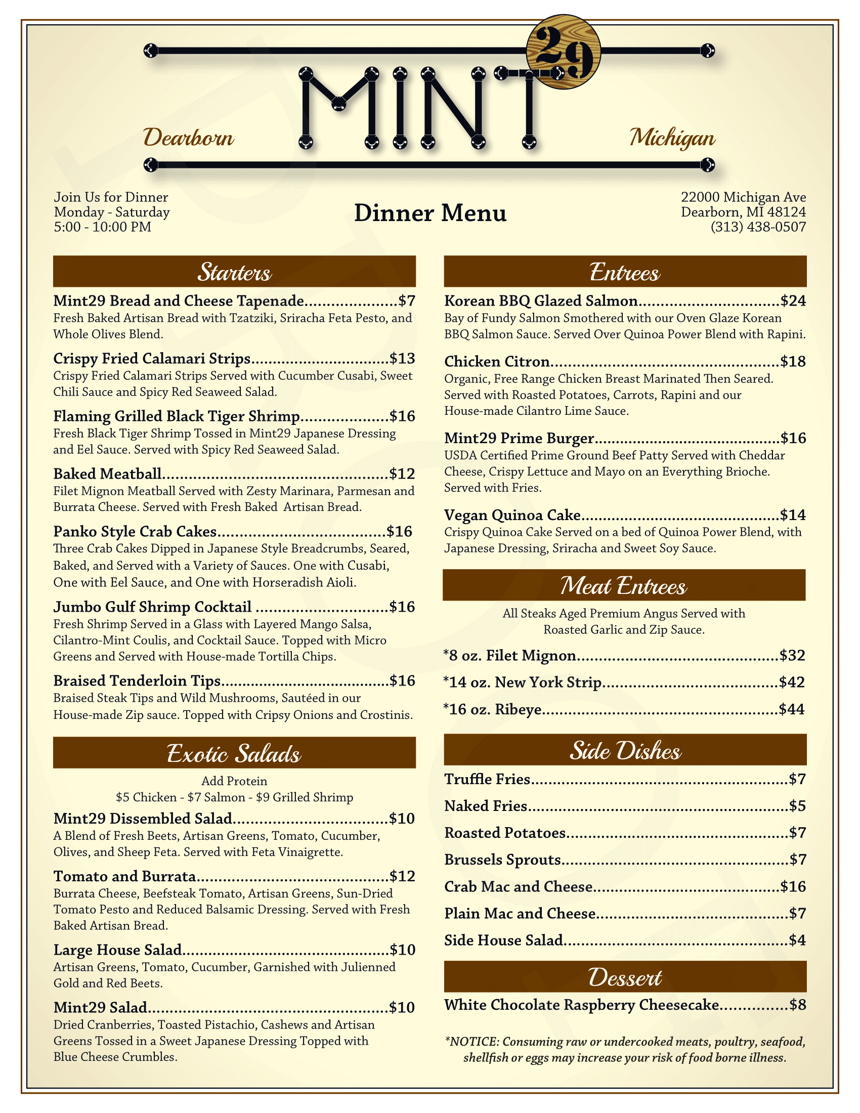 Mint 29 takeout menu - click for readable PDF