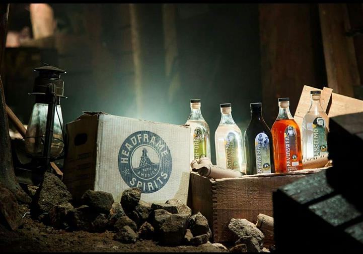 headframe spirits box and bottles