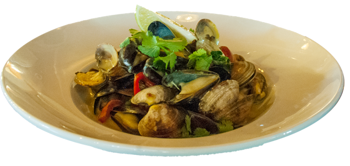 clams in a bowl with garnish