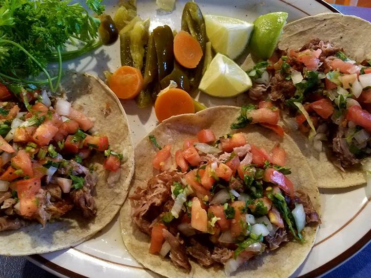 three Beef Soft tacos
