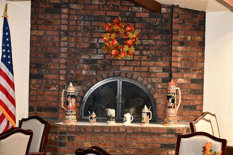 Fire place in dining room