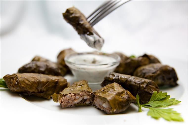 grape leaves with tziki dipping sauce
