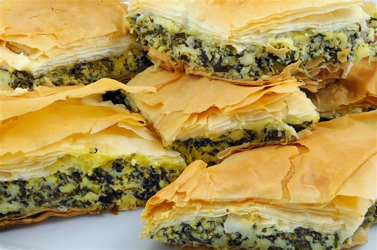 spanakopita stacked together