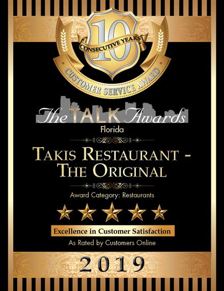 The Talk Awards Florida: Taki's Restaurant Excellence in Customer Service