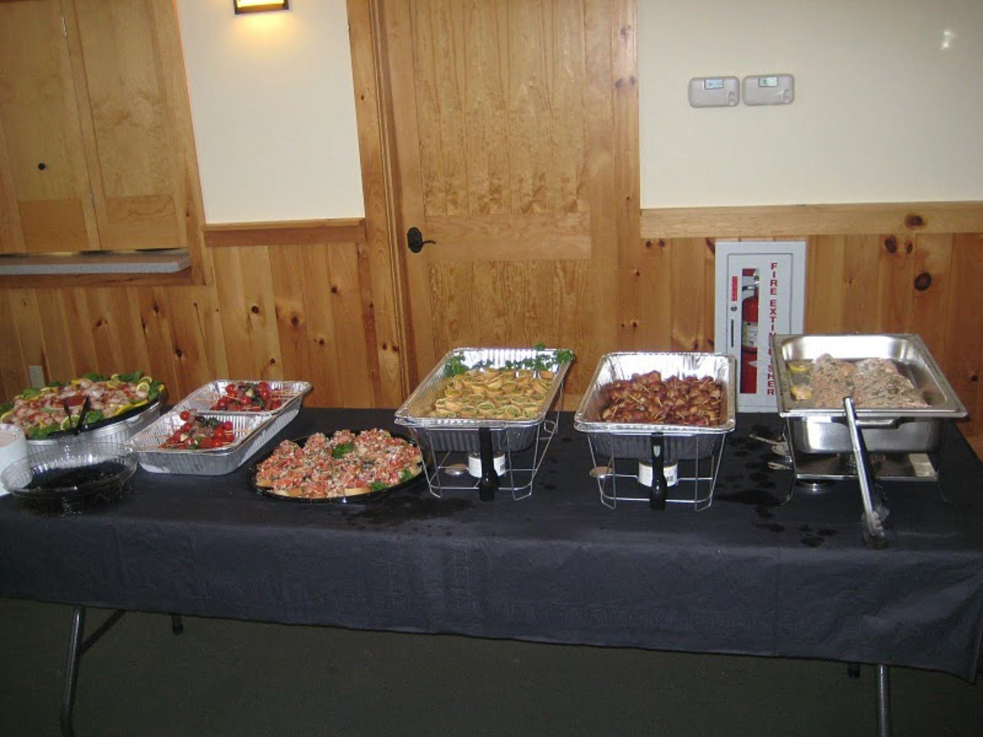 Catering display with assorted entrees