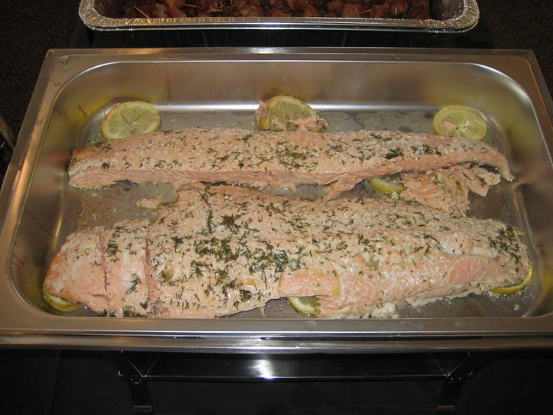 Baked salmon oreganata with lemon