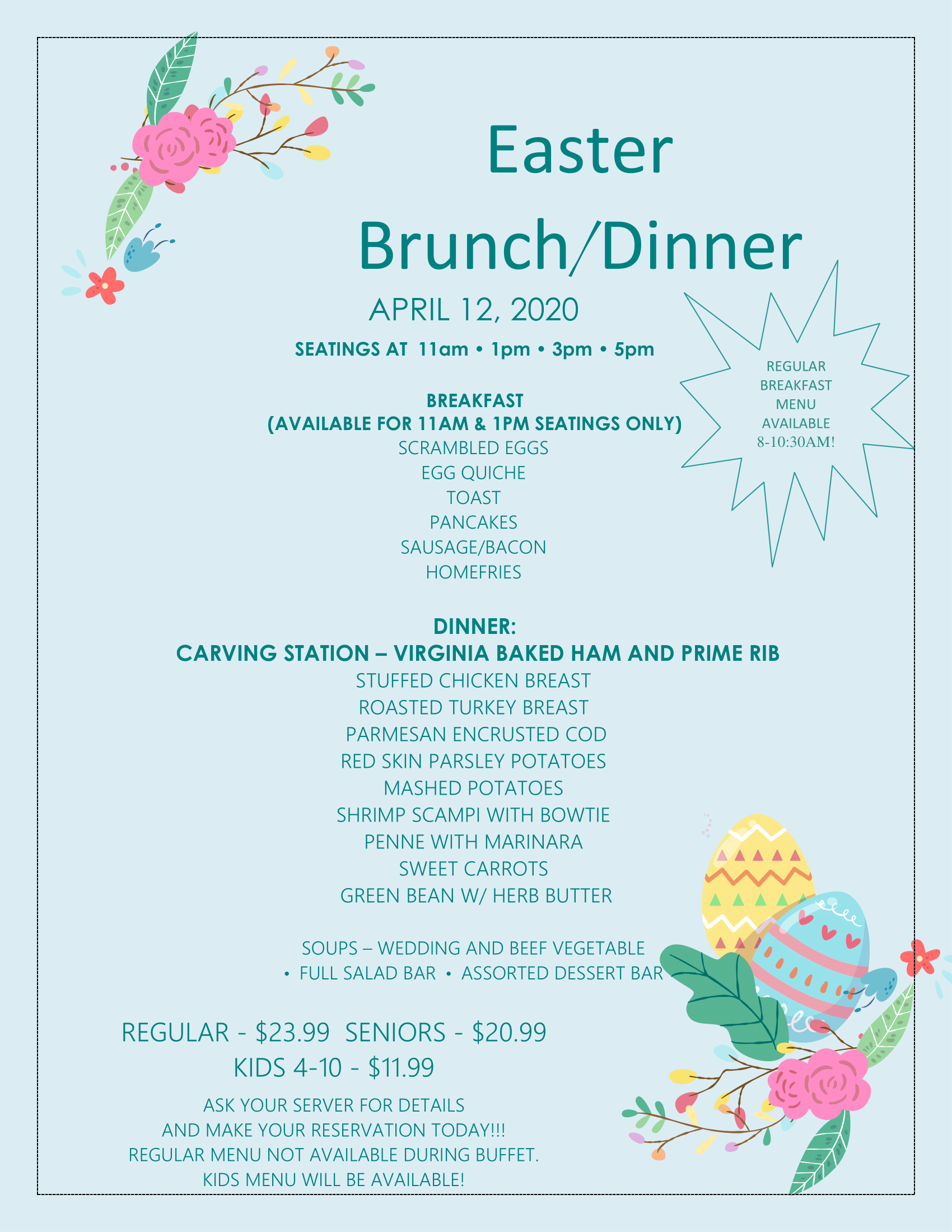 Easter Brunch/Dinner - click for readable PDF