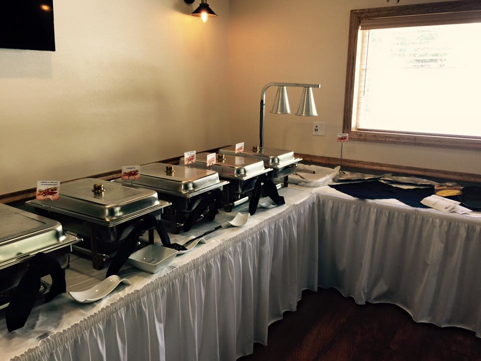Catering dining hall with a buffet station