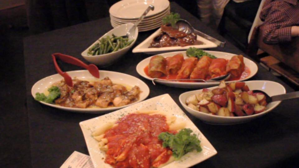 five plates of sharable entrees