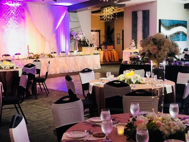 view of room set up for an event