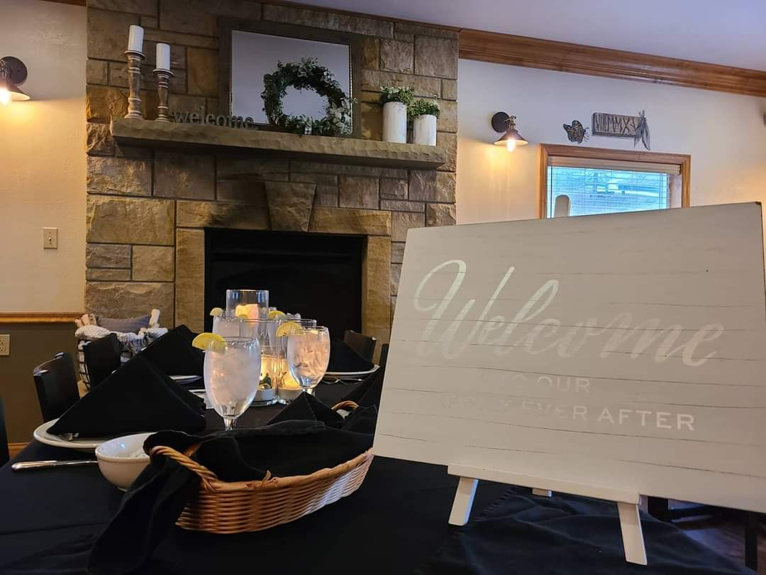 Dining Room with Welcome sign for Event