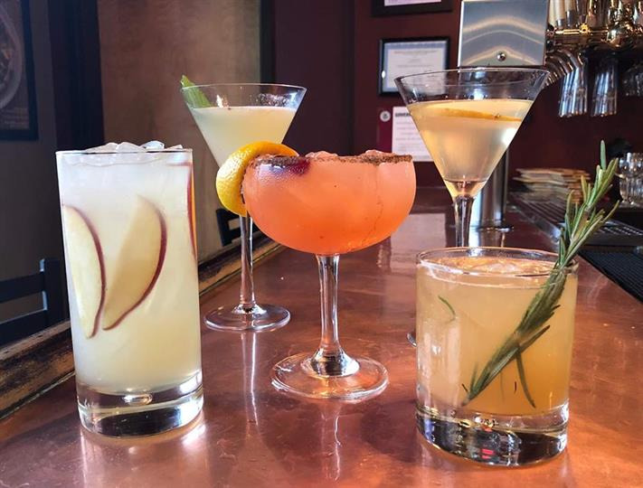 5 alcoholic drinks on the bar