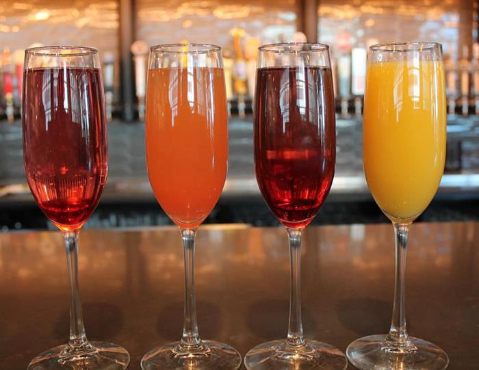 4 alcoholic drinks on the bar