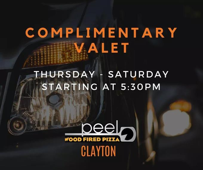 complimentary valet thursday through saturday starting at 5:30 PM