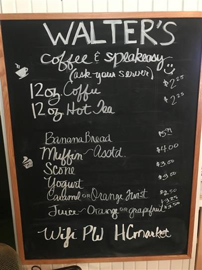 Walter's Menu written on Chalkboard
