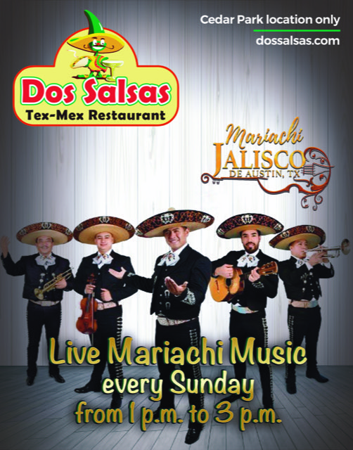 Dos Salsas tex-Mex Restaurant Live Mariachi Music Every Sunday from 1 pm to 3 pm