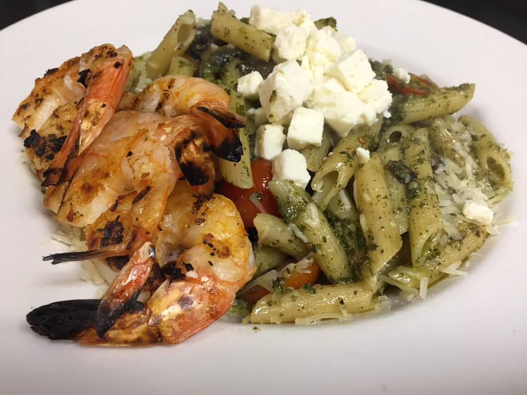 Pesto penne with fresh mozzarella and sauteed shrimp