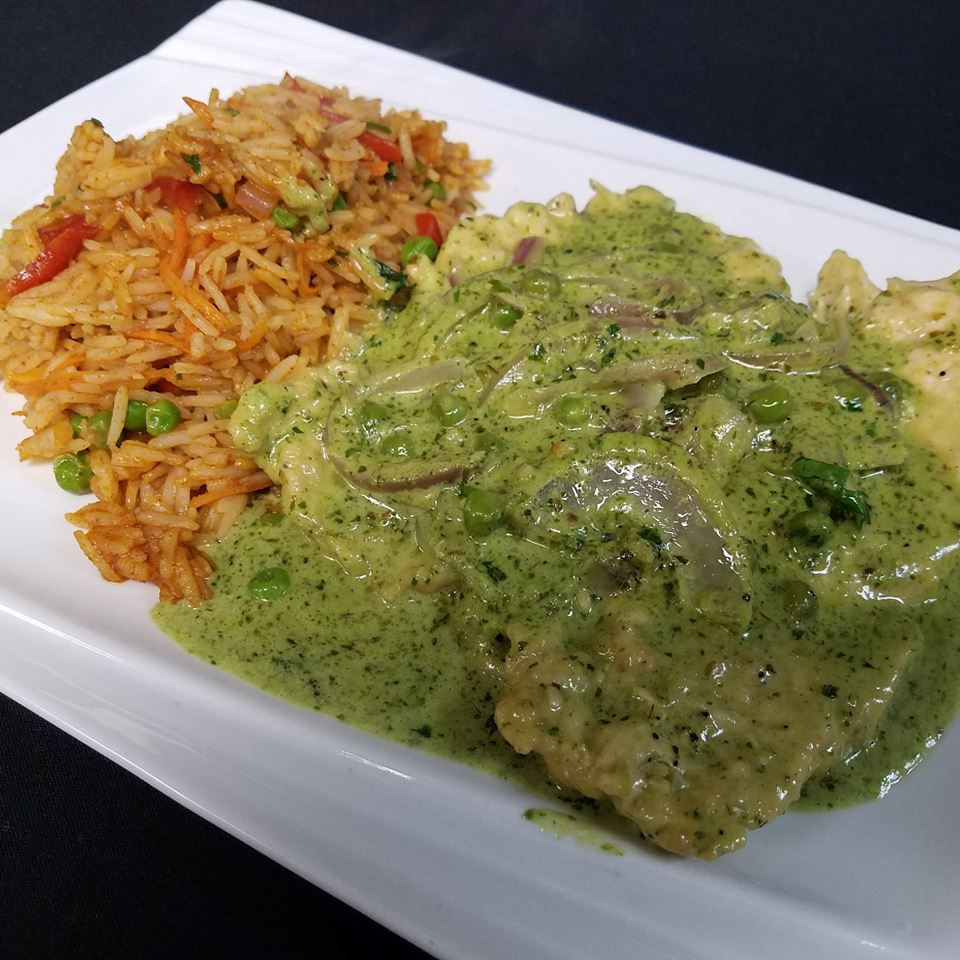 Pesto chicken with vegetable rice