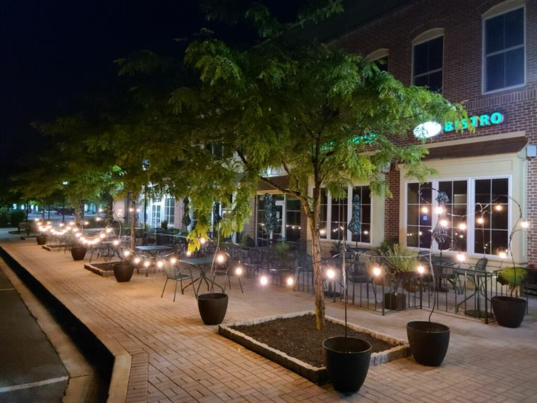 Picture of the patio with string lights