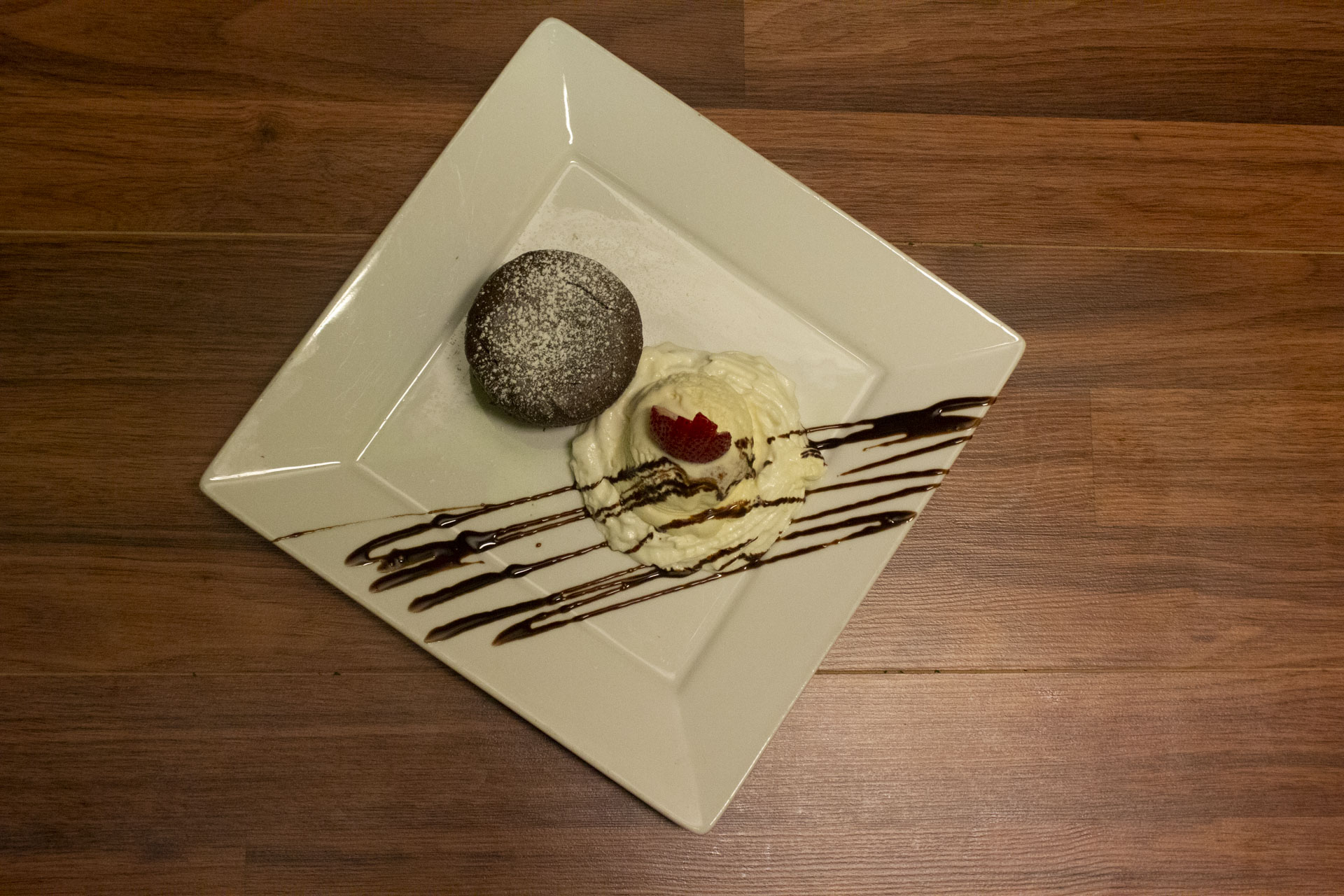 Chocolate souffle with a side of ice cream