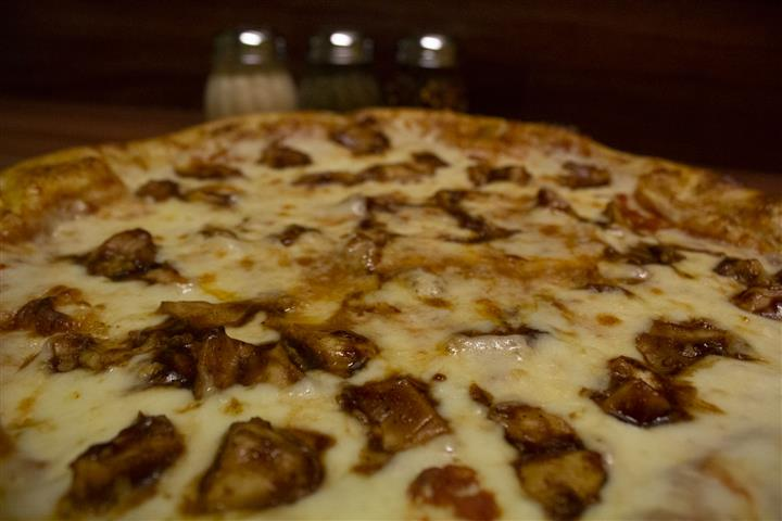 Close up of Barbecue Chicken Pizza.