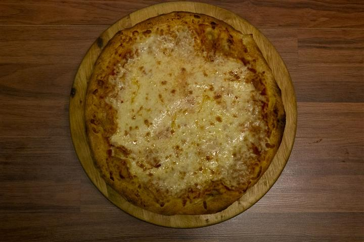 Top view of a Cheese Pizza.