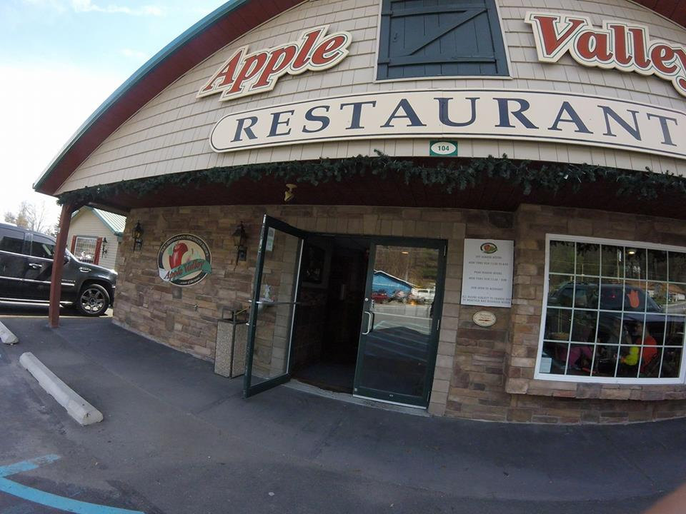 Exterior of Apple Valley Restaurant with the front door open