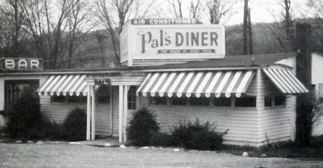 Vintage photo of Pal's Diner in black and white.