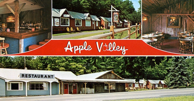 Vintage photo of Apple Valley cottages and restaurant.