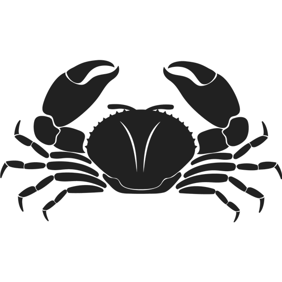 Black cartoon crab silhouette