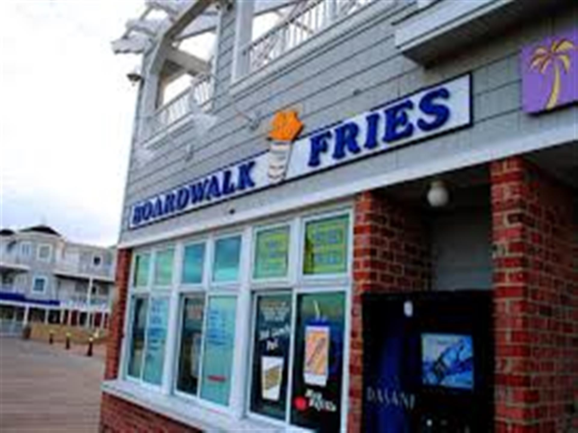 Exterior of Boardwalk Fries Building close up