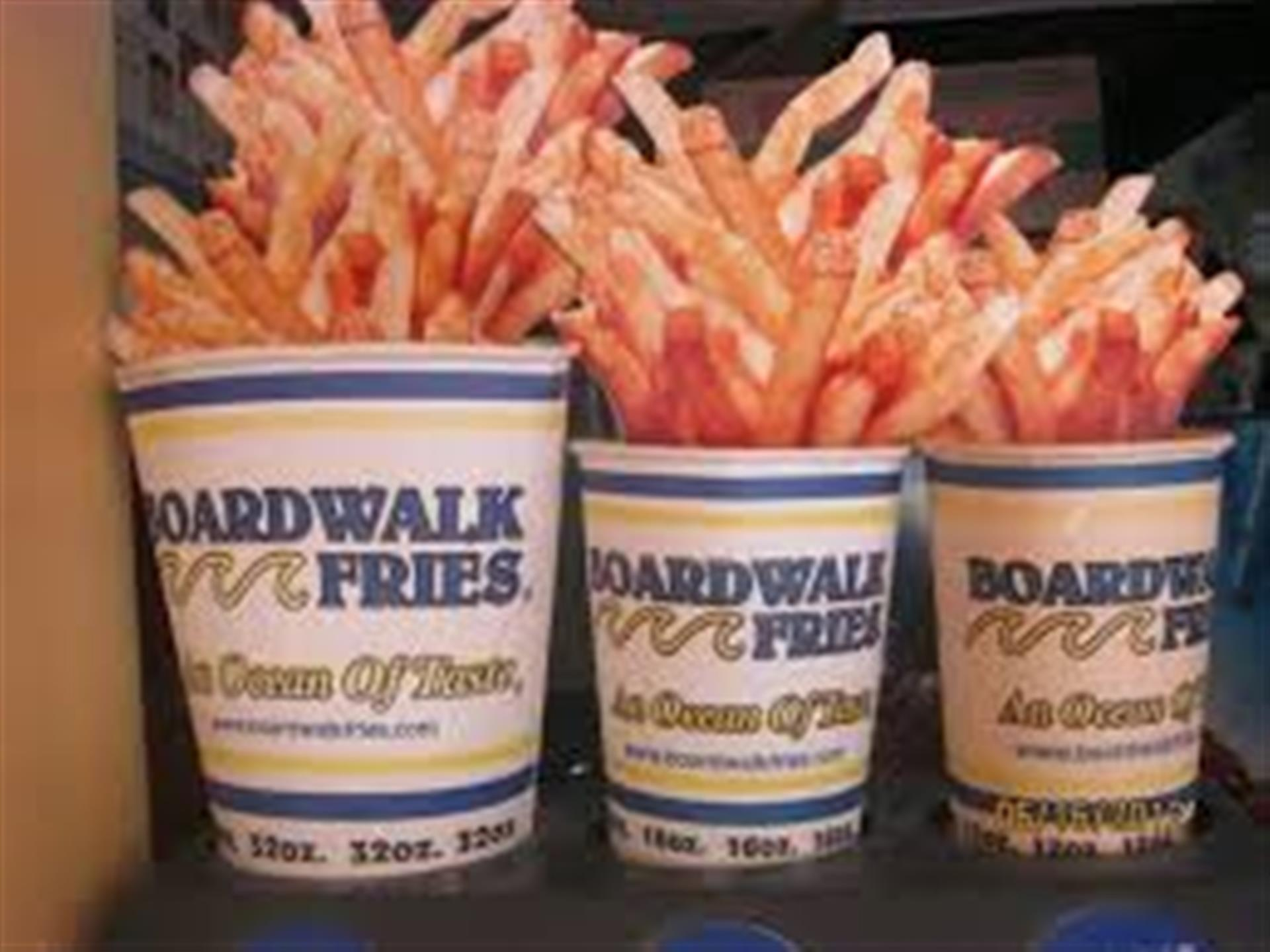 Large, Medium, and Small cup of Fries