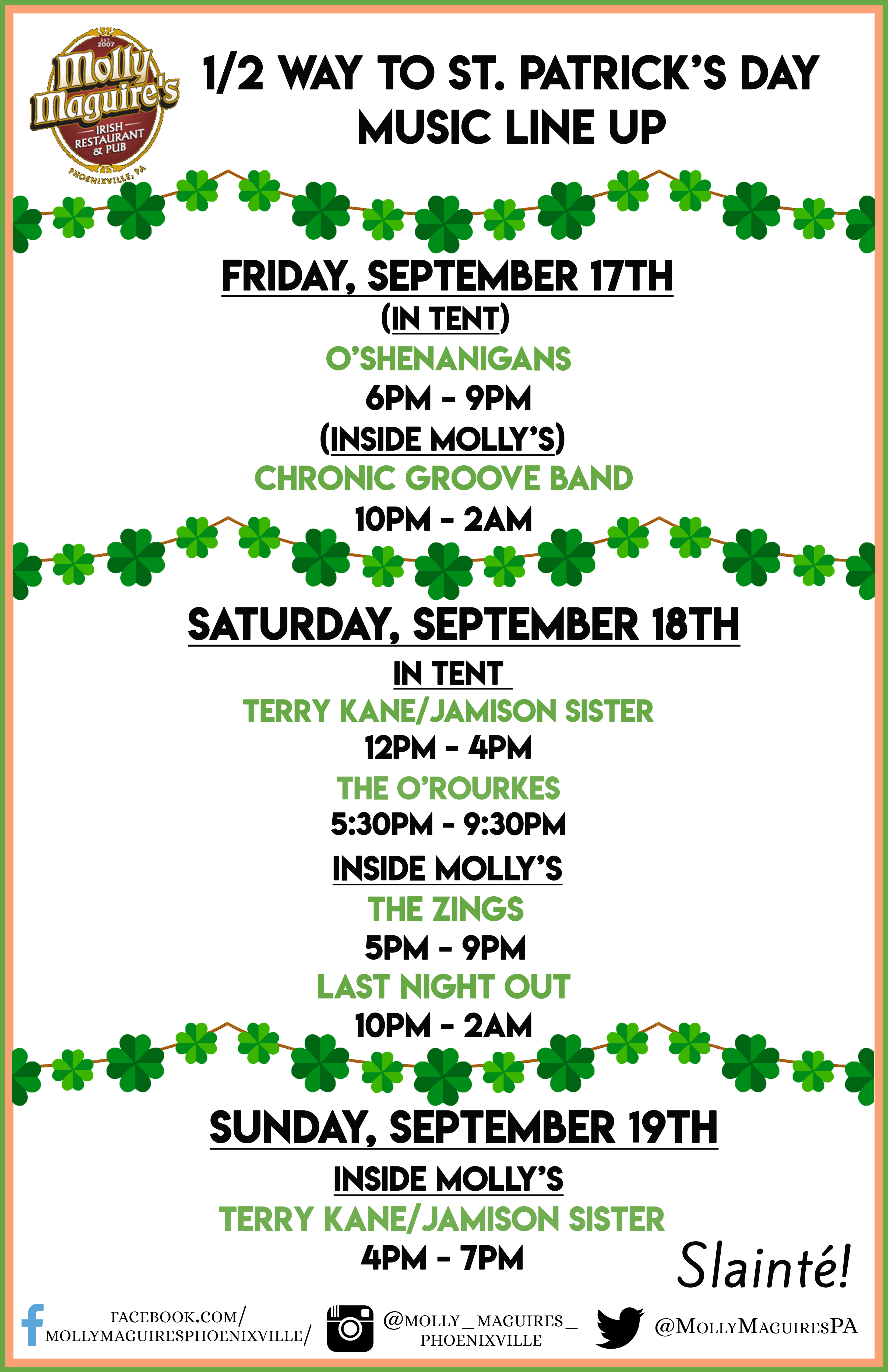1/2 Way to St. Patrick's Day Music Line up